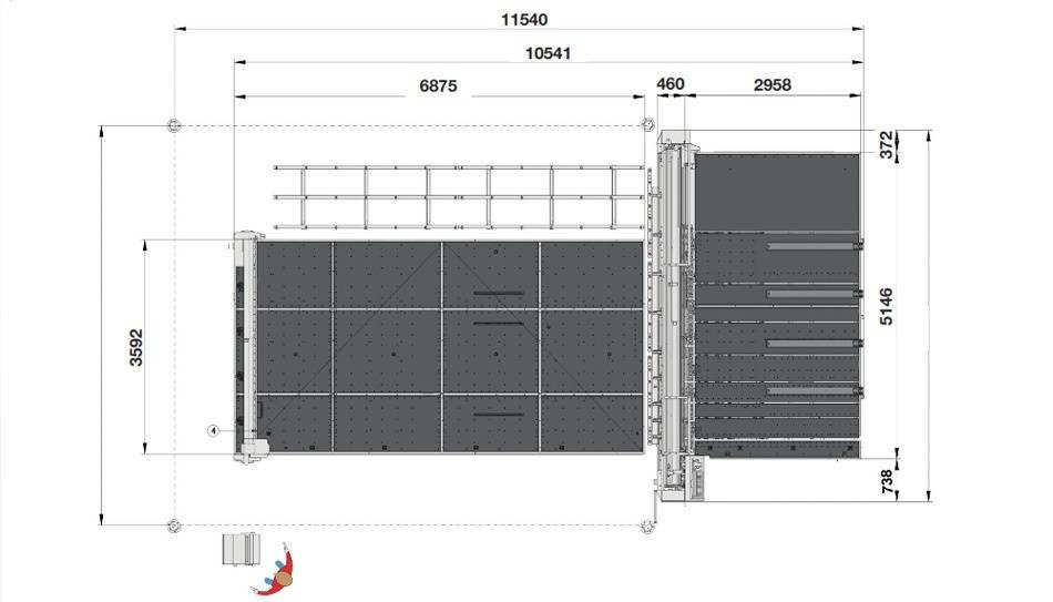 Genius Comby J-A46 (Genius 61CT с подъемом и рейками разлома + Genius 46 LM-A с транспортными ремнями и качающимися опорами для разгрузки/выгрузки стекла)