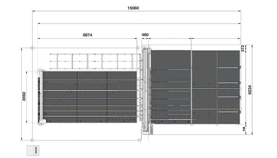 Genius Comby J-A46 (Genius 61CT с подъемом и рейками разлома + Genius 46 LM-A с транспортными ремнями + сервисный стол с рейками разлома и качающимися опорами для разгрузки/выгрузки стекла)