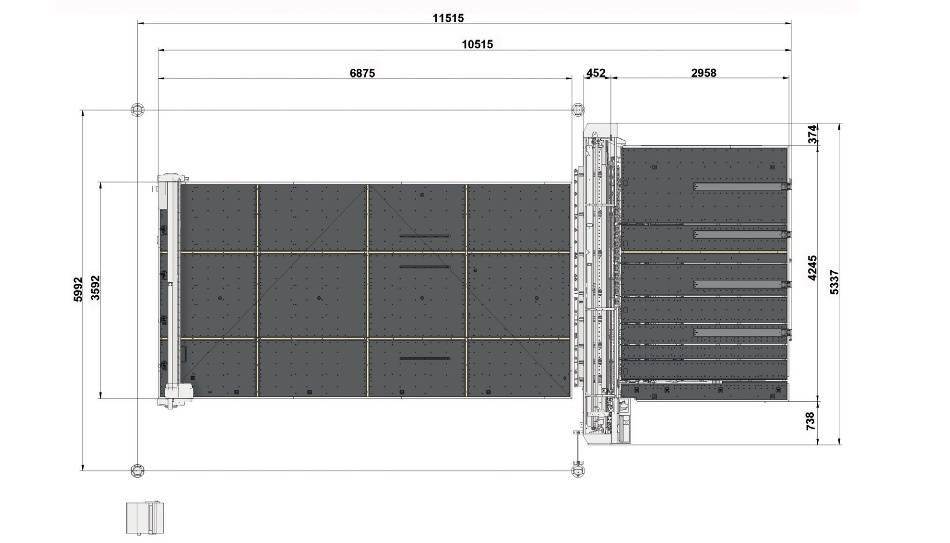 Genius Comby J-A37 (Genius 61CT с подъемом и рейками разлома + Genius 37 LM-A с транспортными ремнями и качающимися опорами для разгрузки/выгрузки стекла)