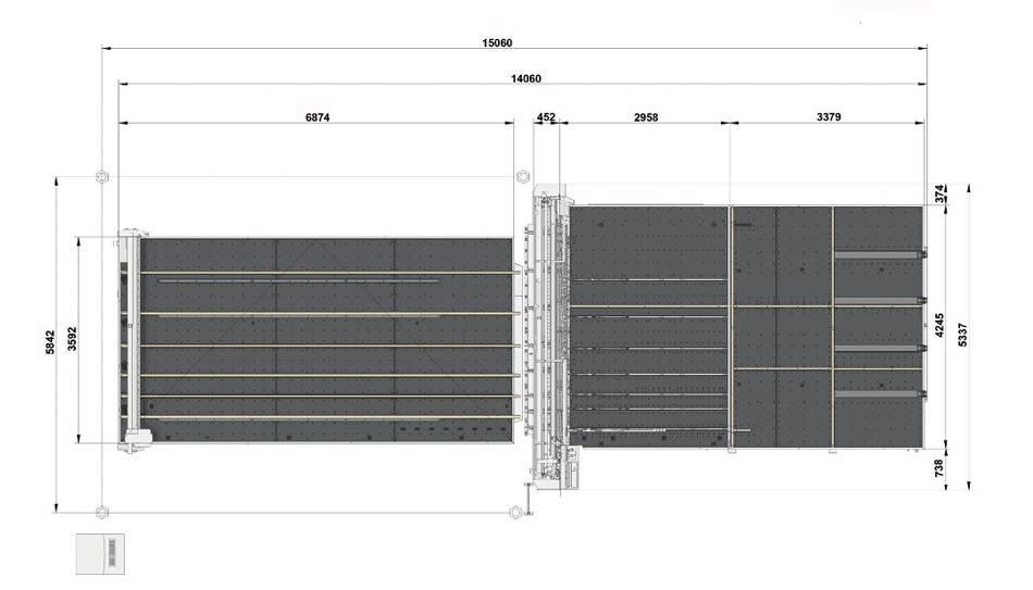Genius Comby J-A37 (Genius 61CT с подъемом и рейками разлома + Genius 37 LM-A с транспортными ремнями + сервисный стол с рейками разлома и качающимися опорами для разгрузки/выгрузки стекла)