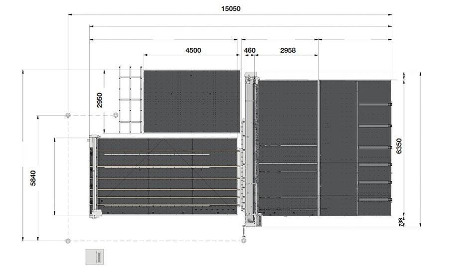Genius Comby J-A60 (Genius 61CT с подъемом, транспортными ремнями, буферными планками и дополнительным столом + Genius 60 LM-A с транспортными ремнями + сервисный стол с рейкой разлома и качающимися опорами для разгрузки/выгрузки стекла)