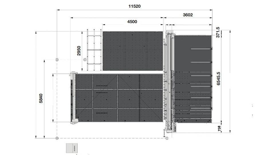 Genius Comby J-A60 (Genius 61CT с подъемом, рейками разлома и дополнительным столом + Genius 60 LM-A с транспортными ремнями и качающимися опорами для разгрузки/выгрузки стекла)